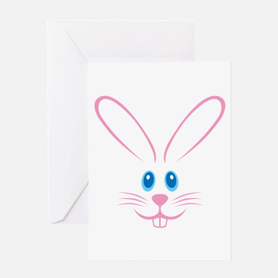 Pink Bunny Face Greeting Card