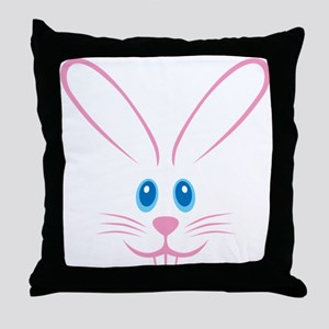 Pink Bunny Face Throw Pillow