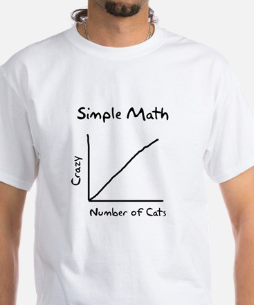 Simple math crazy number of cats White T-Shirt