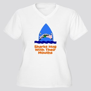 Sharks hug with their mouths Women's Plus Size V-N
