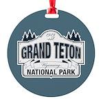 Grand Teton Blue Sign Round Ornament