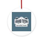 Grand Teton Blue Sign Ornament (Round)