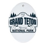 Grand Teton Blue Sign Ornament (Oval)