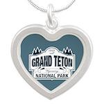 Grand Teton Blue Sign Silver Heart Necklace