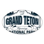 Grand Teton Blue Sign Sticker (Oval 50 pk)