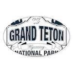 Grand Teton Blue Sign Sticker (Oval 10 pk)