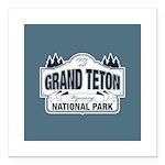 Grand Teton Blue Sign Square Car Magnet 3
