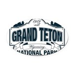 Grand Teton Blue Sign Oval Car Magnet