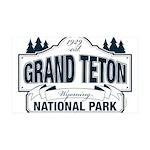 Grand Teton Blue Sign 35x21 Wall Decal