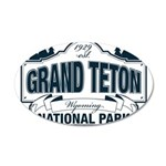 Grand Teton Blue Sign 35x21 Oval Wall Decal