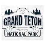 Grand Teton Blue Sign King Duvet