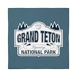 Grand Teton Blue Sign Queen Duvet