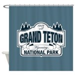Grand Teton Blue Sign Shower Curtain