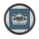 Grand Teton Blue Sign Large Wall Clock