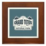 Grand Teton Blue Sign Framed Tile