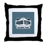 Grand Teton Blue Sign Throw Pillow