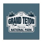 Grand Teton Blue Sign Tile Coaster