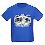 Grand Teton Blue Sign Kids Dark T-Shirt