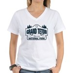 Grand Teton Blue Sign Women's V-Neck T-Shirt