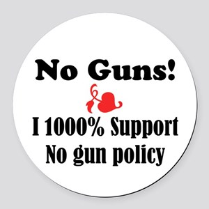 No Guns Round Car Magnet