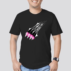 Paw Scratch (Pink) Men's Fitted T-Shirt (dark)
