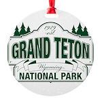 Grand Teton Green Sign Round Ornament