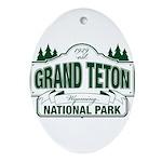 Grand Teton Green Sign Ornament (Oval)