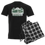 Grand Teton Green Sign Men's Dark Pajamas