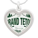 Grand Teton Green Sign Silver Heart Necklace
