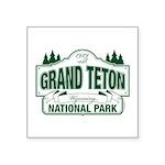 "Grand Teton Green Sign Square Sticker 3"" x 3&"