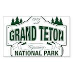 Grand Teton Green Sign Sticker (Rectangle 10 pk)