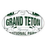 Grand Teton Green Sign Sticker (Oval 10 pk)