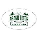 Grand Teton Green Sign Sticker (Oval)