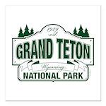 "Grand Teton Green Sign Square Car Magnet 3"" x"