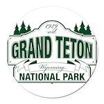 Grand Teton Green Sign Round Car Magnet