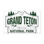 Grand Teton Green Sign Rectangle Car Magnet