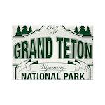 Grand Teton Green Sign Rectangle Magnet (10 pack)
