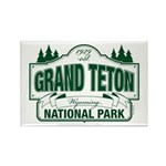 Grand Teton Green Sign Rectangle Magnet