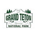 Grand Teton Green Sign 35x21 Wall Decal