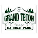 Grand Teton Green Sign Small Poster