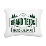 Grand Teton Green Sign Rectangular Canvas Pillow