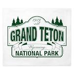 Grand Teton Green Sign King Duvet