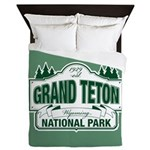 Grand Teton Green Sign Queen Duvet