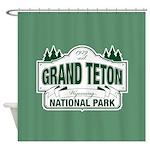 Grand Teton Green Sign Shower Curtain