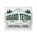 Grand Teton Green Sign Throw Blanket