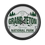 Grand Teton Green Sign Large Wall Clock