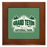 Grand Teton Green Sign Framed Tile
