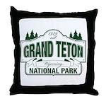 Grand Teton Green Sign Throw Pillow