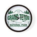 Grand Teton Green Sign Wall Clock