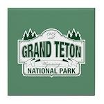 Grand Teton Green Sign Tile Coaster